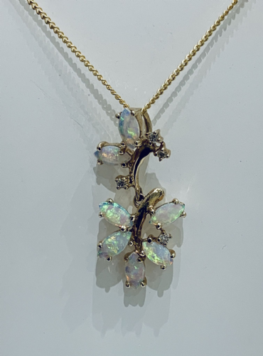 Opal And Diamond Yellow Gold Spray Necklace